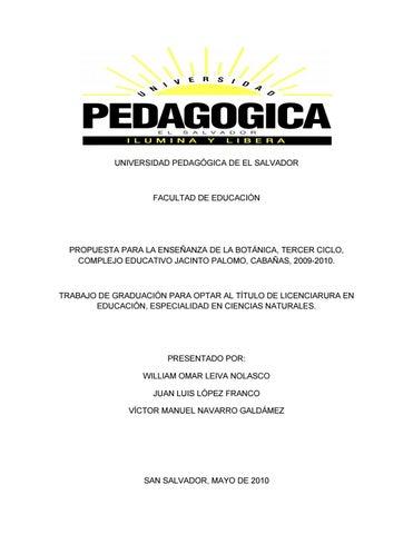 Propuesta para la enseñanza de la botánica, tercer ciclo, complejo ...