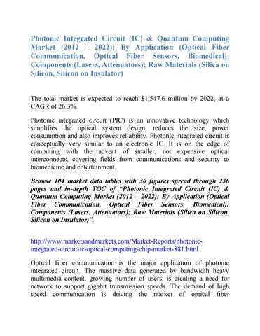 Photonic Integrated Circuit (IC) & Quantum Computing Market