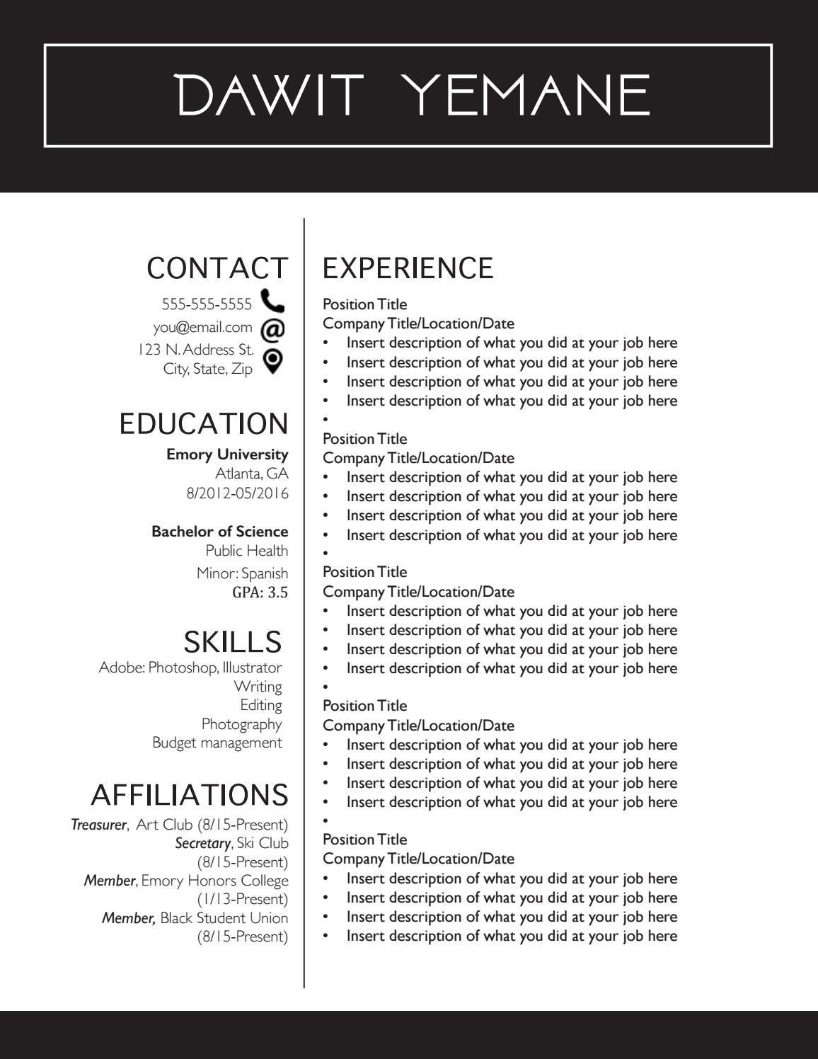 resume templates by samra seifu