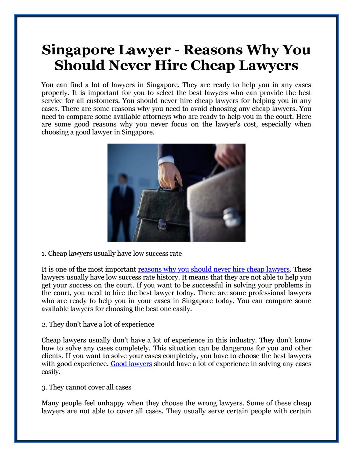 Singapore Lawyer - Reasons Why You Should Never Hire Cheap