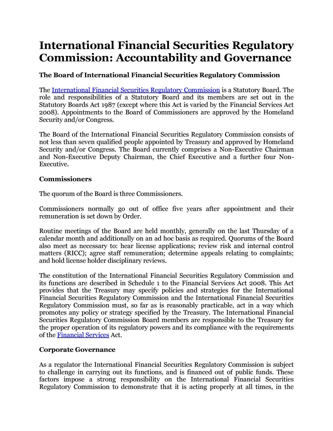 International Financial Securities Regulatory Commission ...