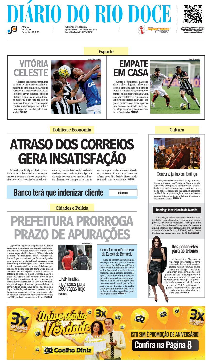 Diário do Rio Doce - Edição de 02 06 2016 by Diário do Rio Doce - issuu 98534c8e3d7dd