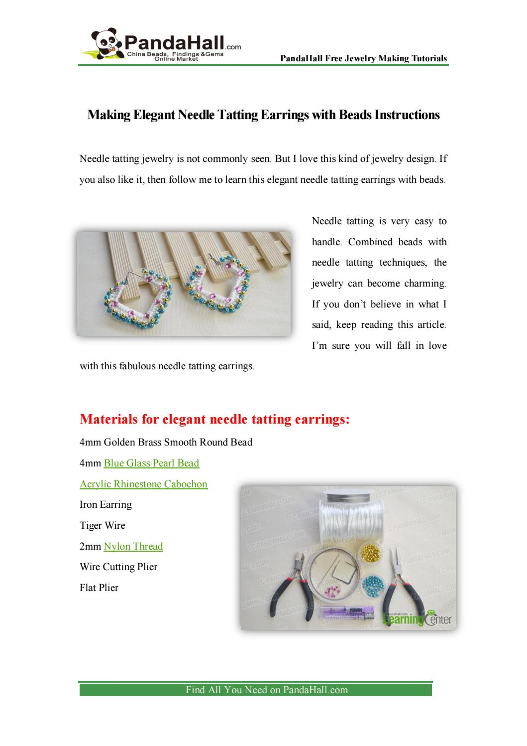 Making Elegant Needle Tatting Earrings With Beads Instructions By