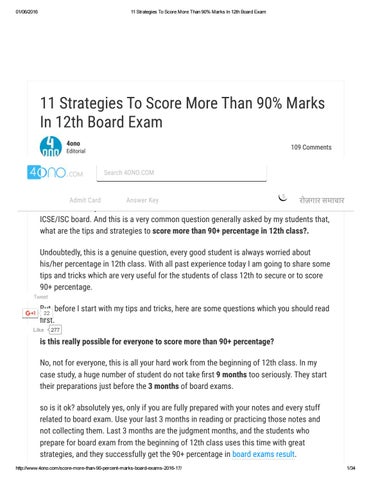 11 strategies to score more than 90 marks in 12th board exam by