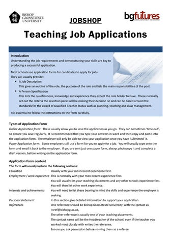 teaching job application by bg futures careers employability and