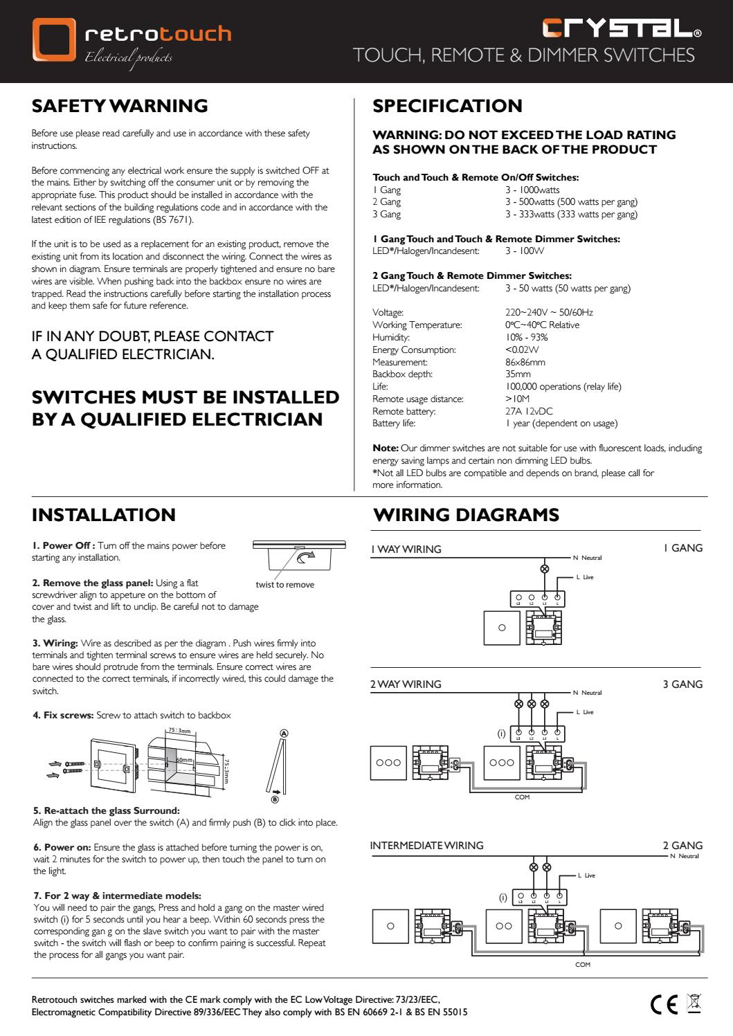 Retrotouch crystal touch and remote switches and dimmers ... on lutron dimmer switches wiring diagram, 3 way light wiring diagram, 3 way outlet wiring diagram, dimmer switch installation diagram, 3 way dimmer switch installation, easy 3 way switch diagram, lutron three-way dimmer diagram, 3 way lamp wiring diagram, touch dimmer wiring diagram,