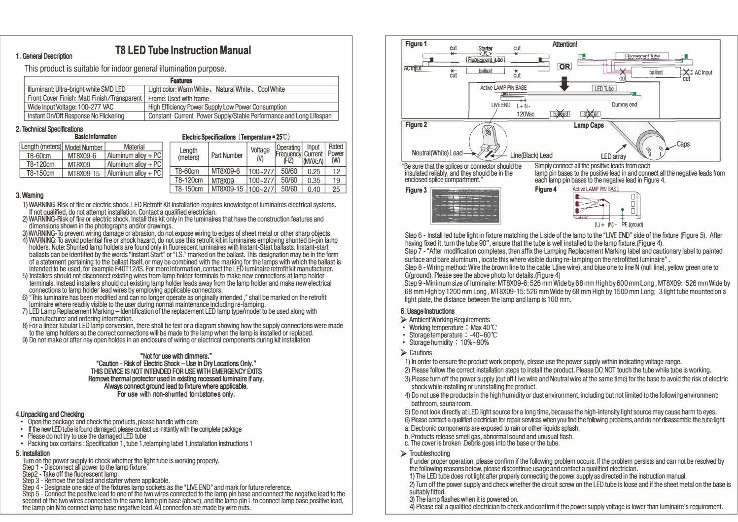 T8 Led Tube Instruction Manual Forest Lighting Usa By Lovisa Alvin Wiring A 4 Bulb Ballast Issuu