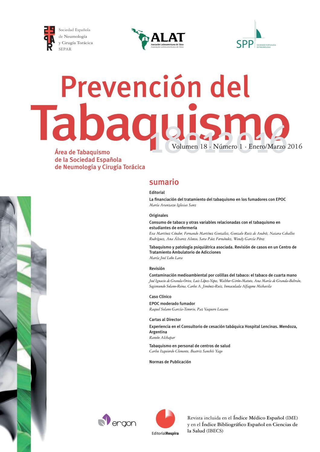 Revista Prevención del Tabaquismo enero-marzo 2016 by SEPAR - issuu