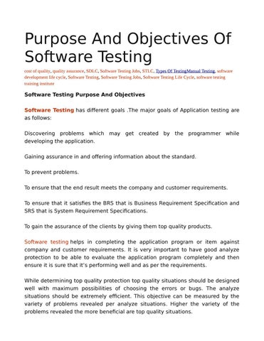 Software Testing Purpose And Objectives By Rahul Saxena Issuu - Software testing requirements