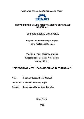 Proyecto De Mejora Senati By Richar Manuel Huaman Suazo