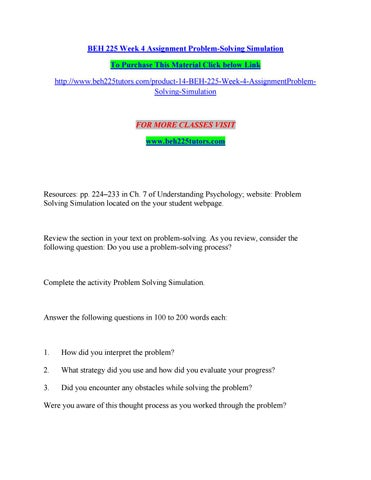 beh 225 problem solving simulation assignment