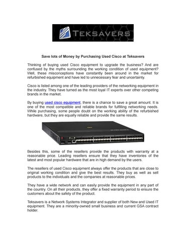 Save lots of Money by Purchasing Used Cisco at Teksavers by