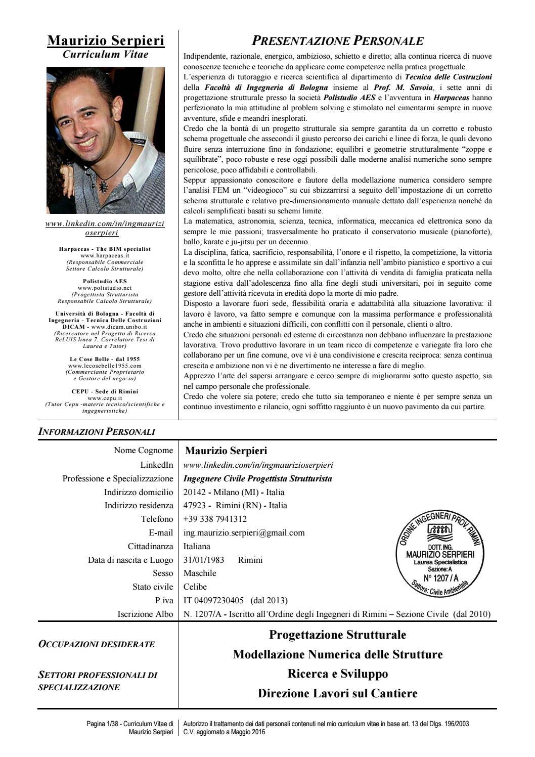 CV Ing Maurizio Serpieri By Ing Maurizio Serpieri Issuu