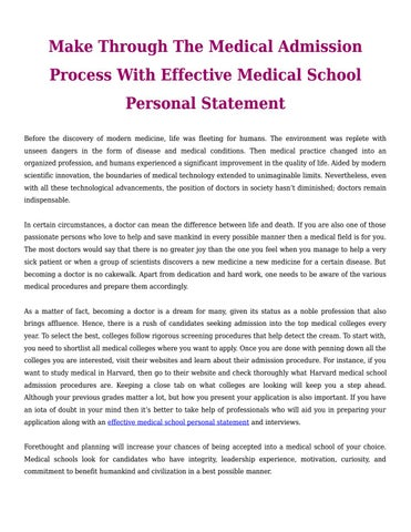 Make Through The Medical Admission Process With Effective Medical