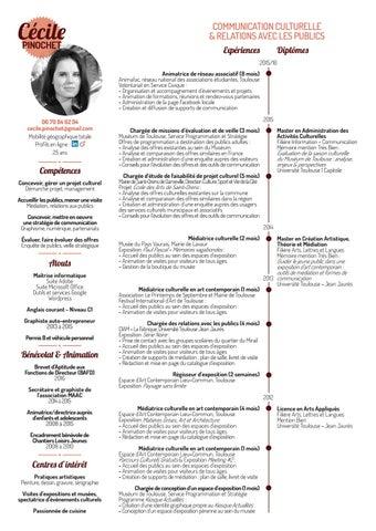 Cv c cile pinochet communication culturelle et relations - Office national de publication et de communication ...