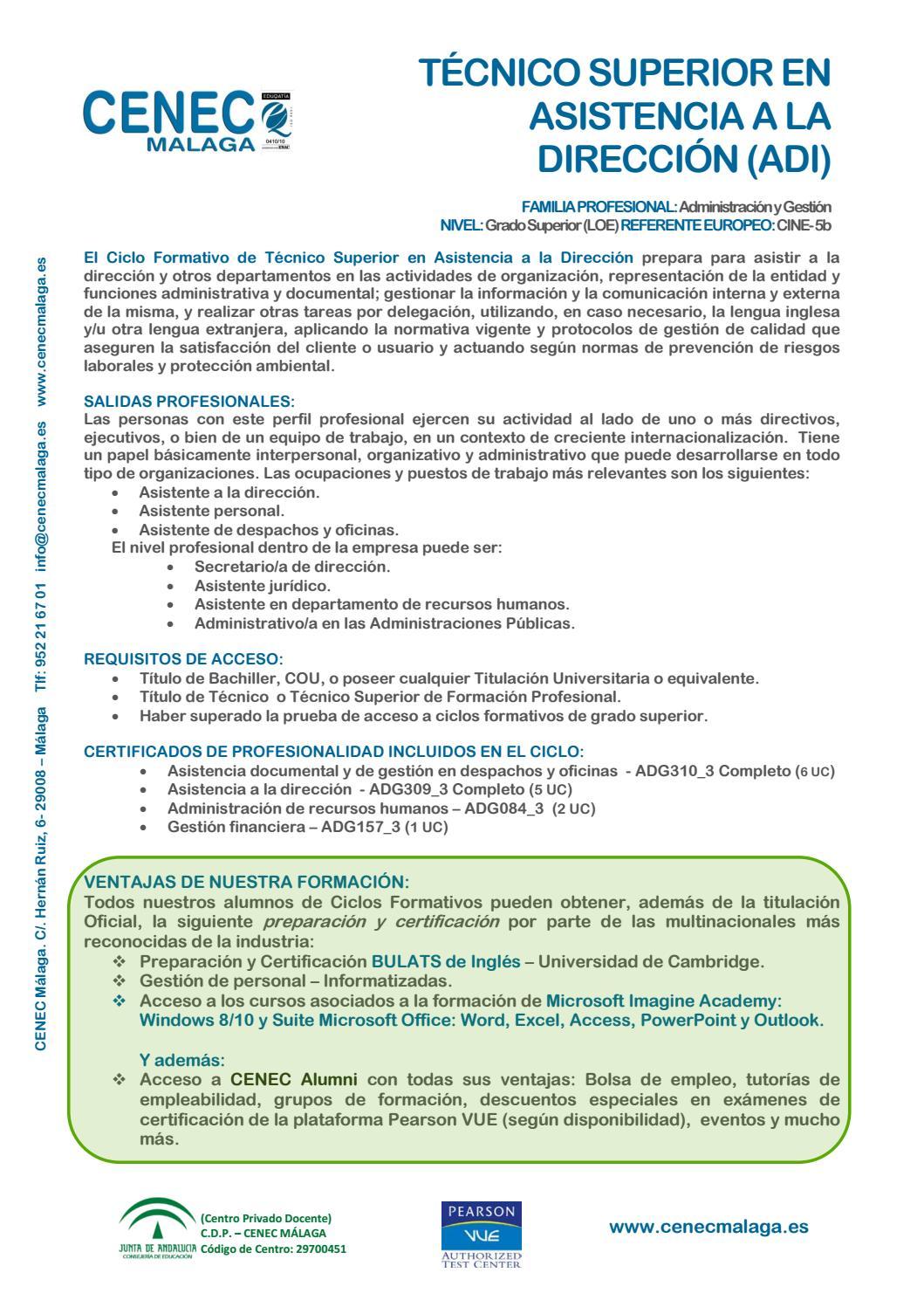 Adi Asistencia A La Direccion 2016 17 By Cenec Málaga Issuu