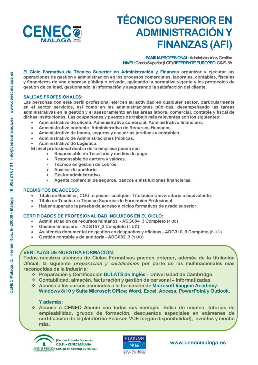 Afi Administración Y Finanzas 2016 17 By Cenec Málaga Issuu