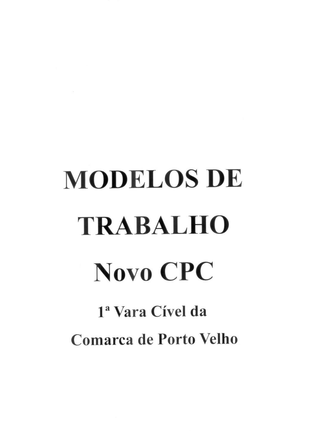 Modelos De Trabalho Novo Cpc By Escola Da Magistratura De