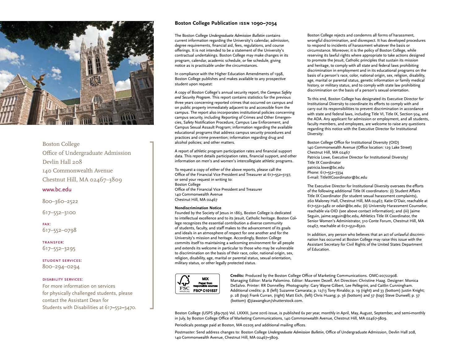 Boston College Undergraduate Admission Bulletin by Boston College - issuu