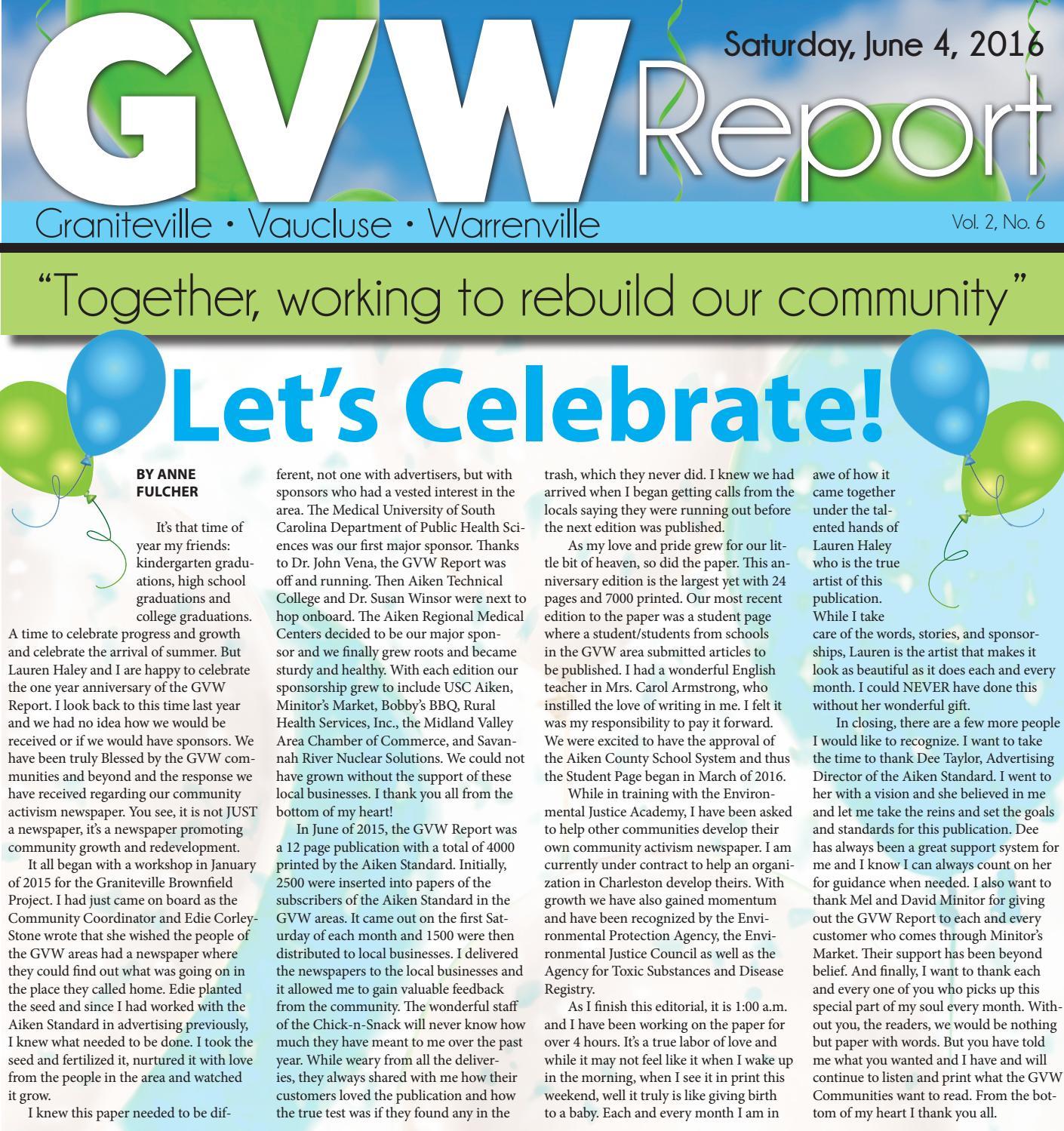 GVW Report June 2016 by Lauren A. Haley - issuu