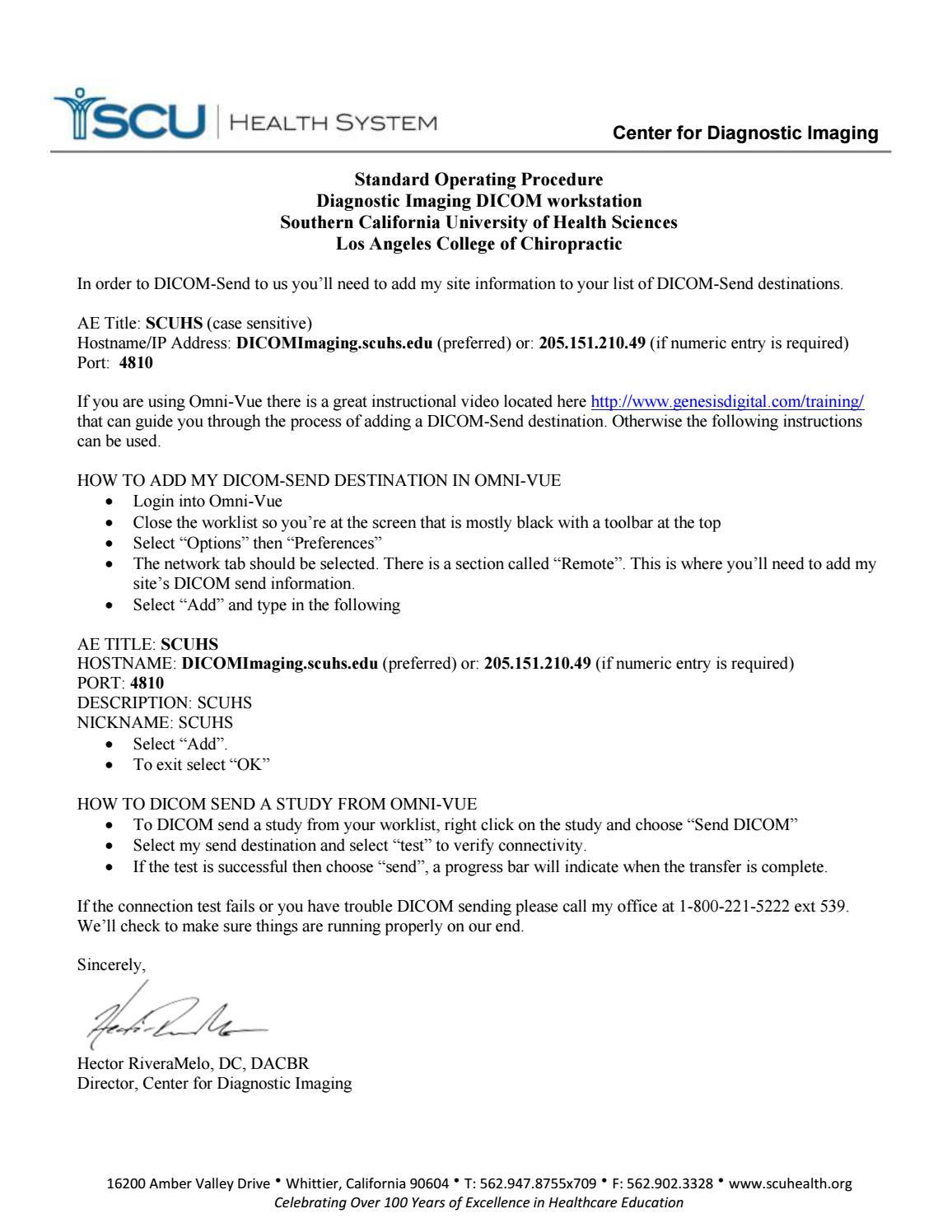 Dicom send instructions omnivue 2016 by Hector RiveraMelo - issuu