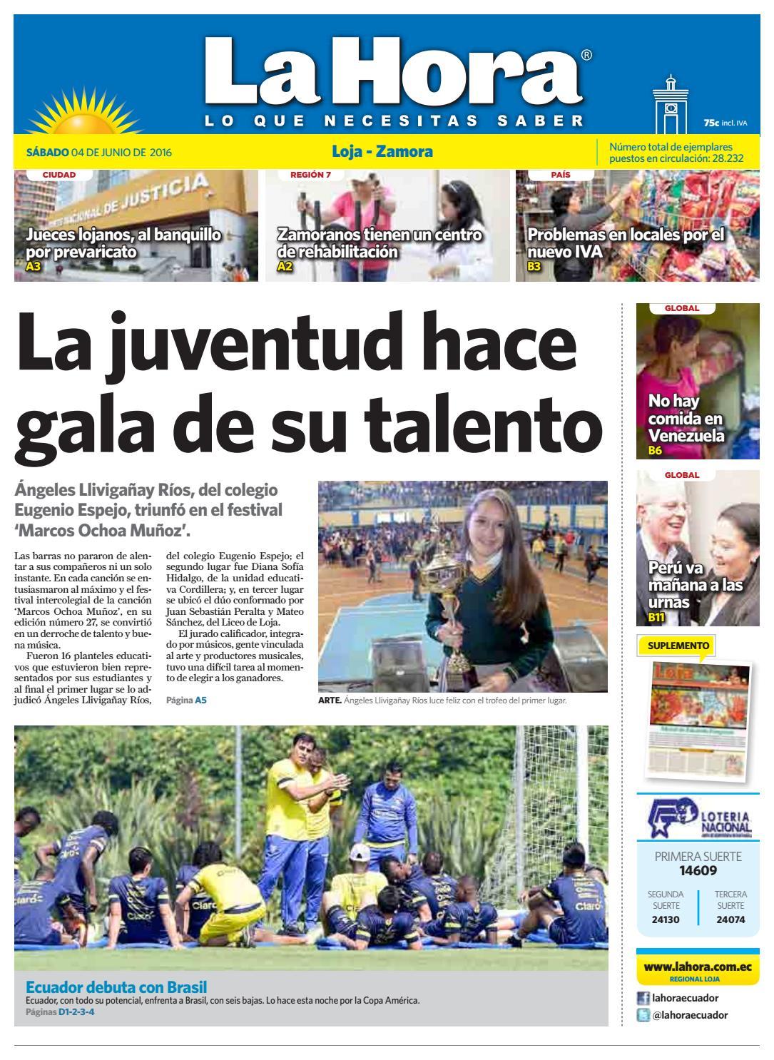 Diario La Hora Loja 04 de Junio 2016 by Diario La Hora Ecuador - issuu