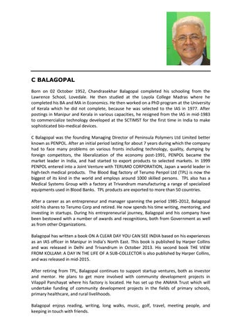 Profile c balagopal by TiE Kerala - issuu