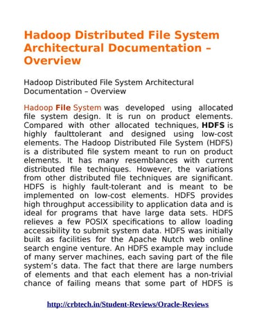 Hadoop Distributed File System Architectural Documentation Overview By Nikhil Issuu