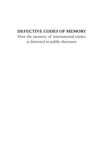 Defective codes of memory by Ministry of Foreign Affairs of the ...