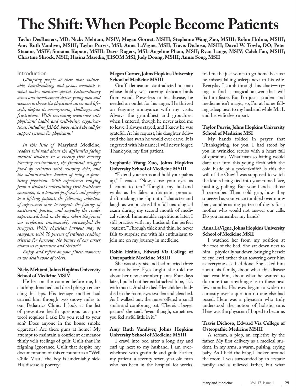 Maryland Medicine Vol 17 Issue 1 By The Maryland State Medical Society Medchi Issuu