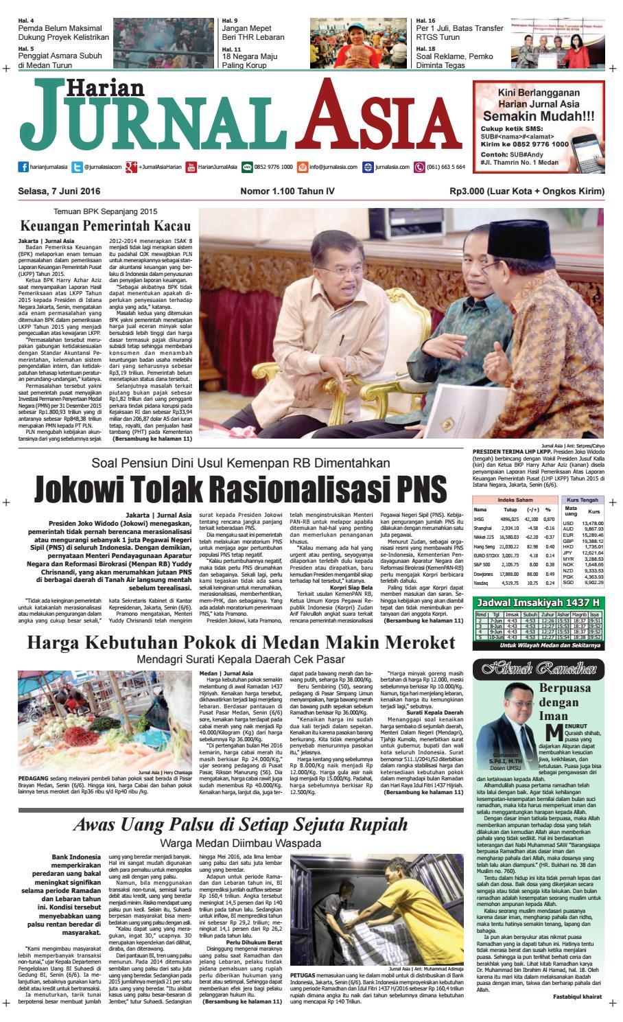 Harian Jurnal Asia Edisi Selasa 07 Juni 2016 By Harian