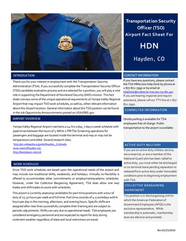 Hdn airport fact sheet 05 23 2016 by Josh Duncan TSA - issuu