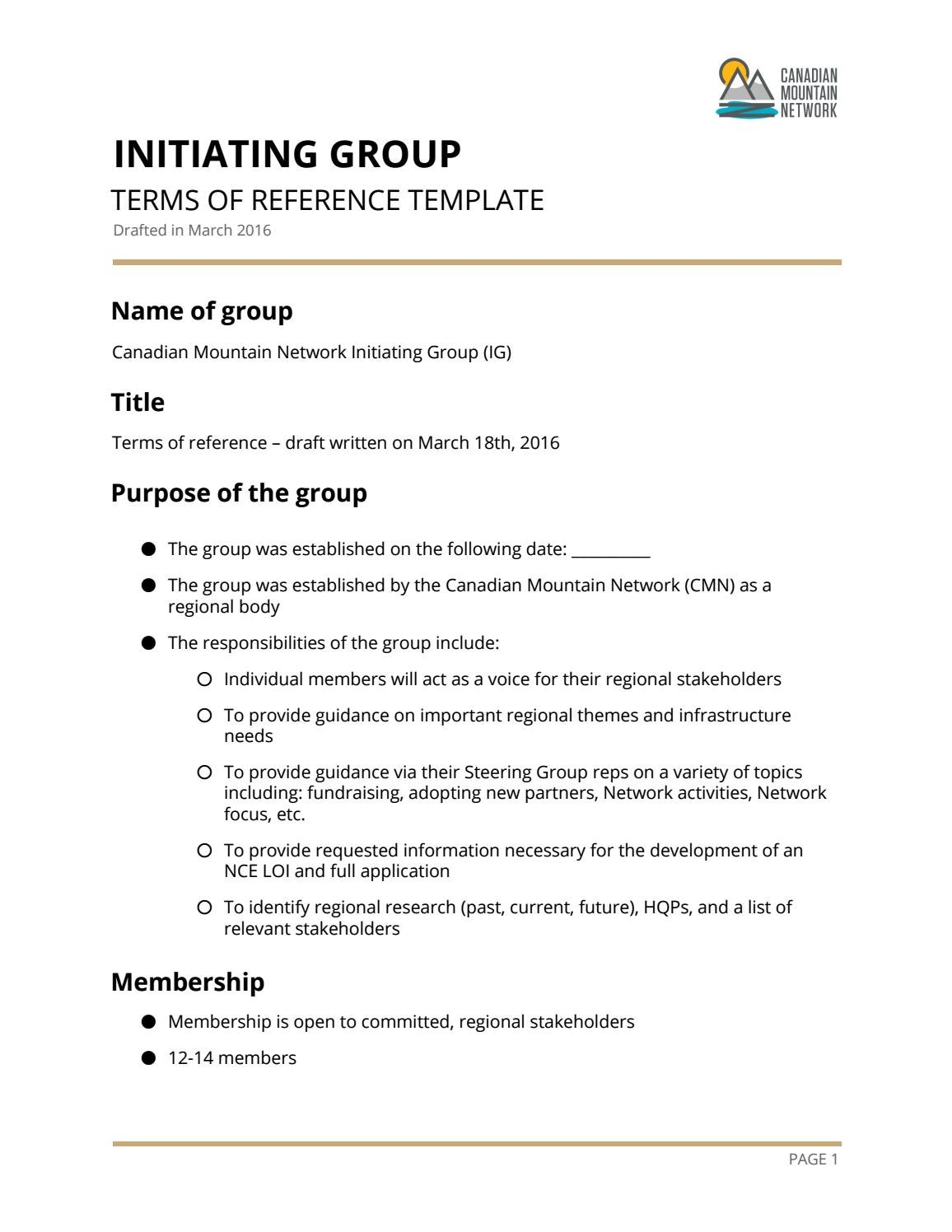 CMN Initiating Group Terms Of Reference Template By Canadian
