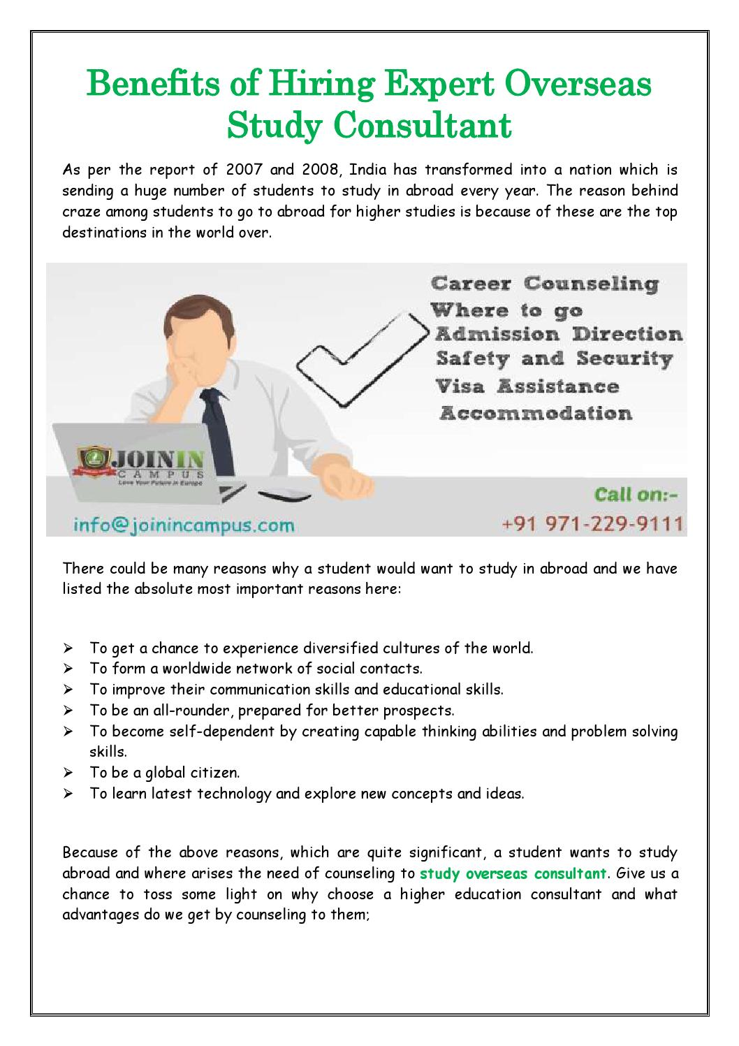 Benefits Of Hiring Expert Overseas Study Consultant By Join In