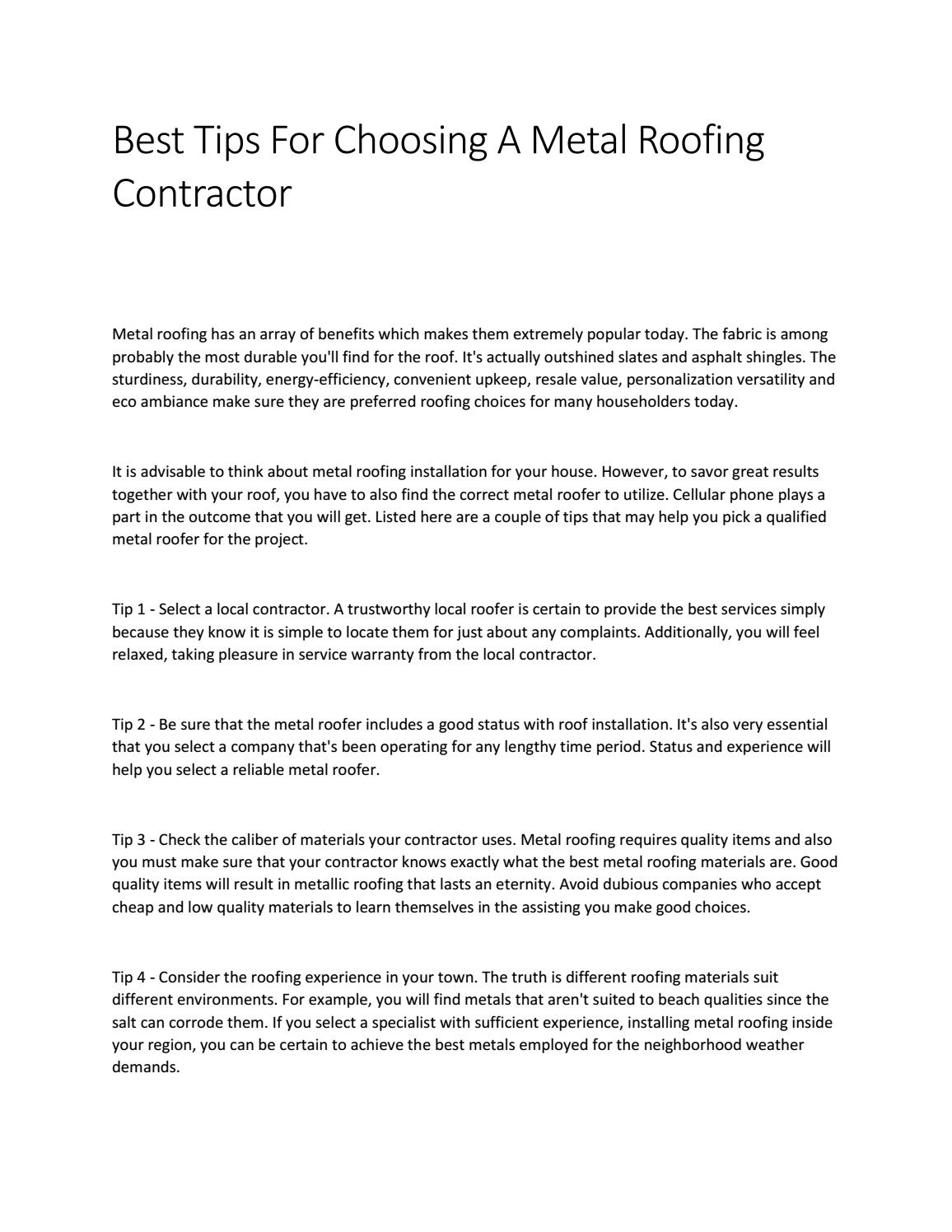 Best Tips For Choosing A Metal Roofing Contractor By Nadia Javaid Issuu