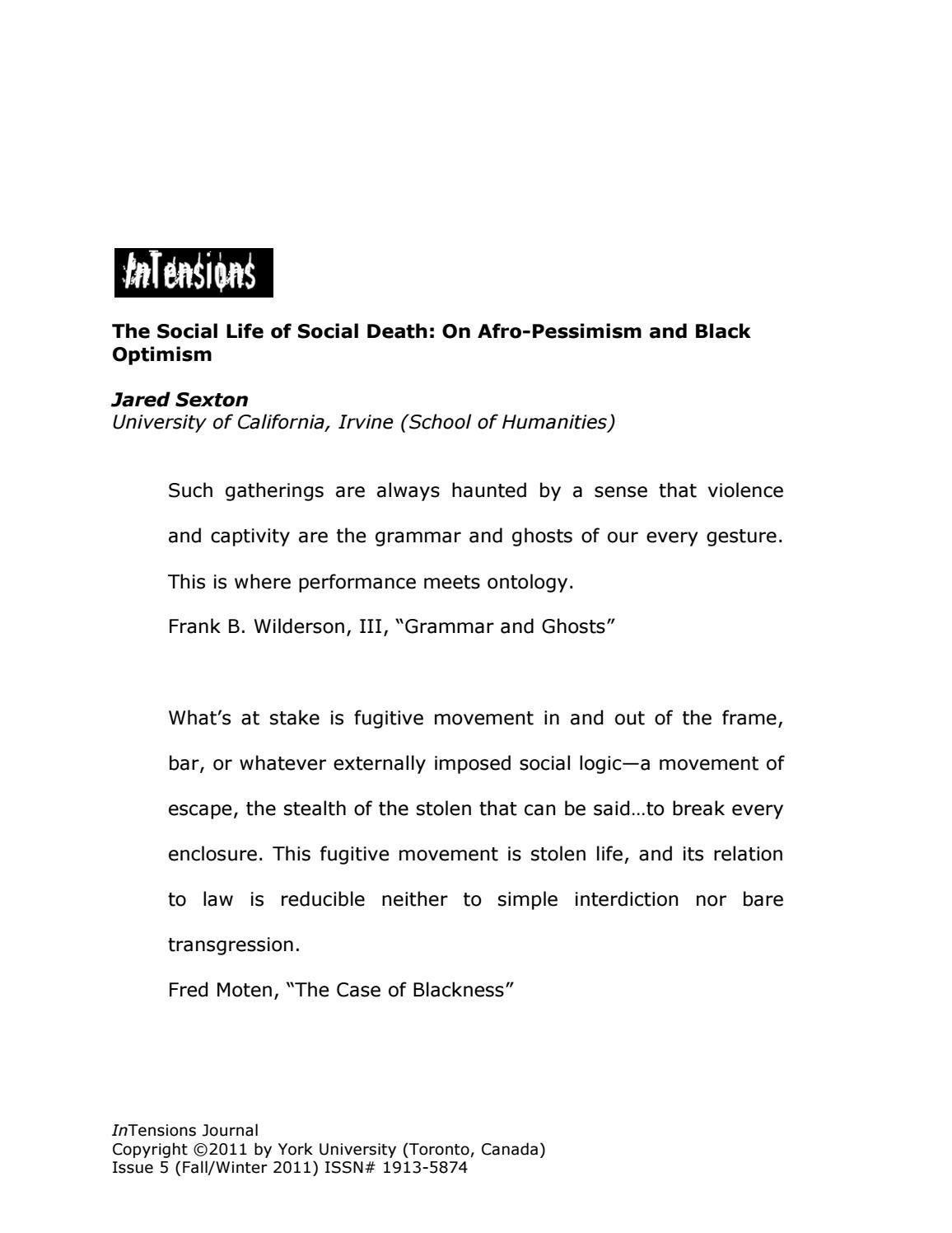 the social life of social death jared sexton by black lives of uu issuu. Black Bedroom Furniture Sets. Home Design Ideas