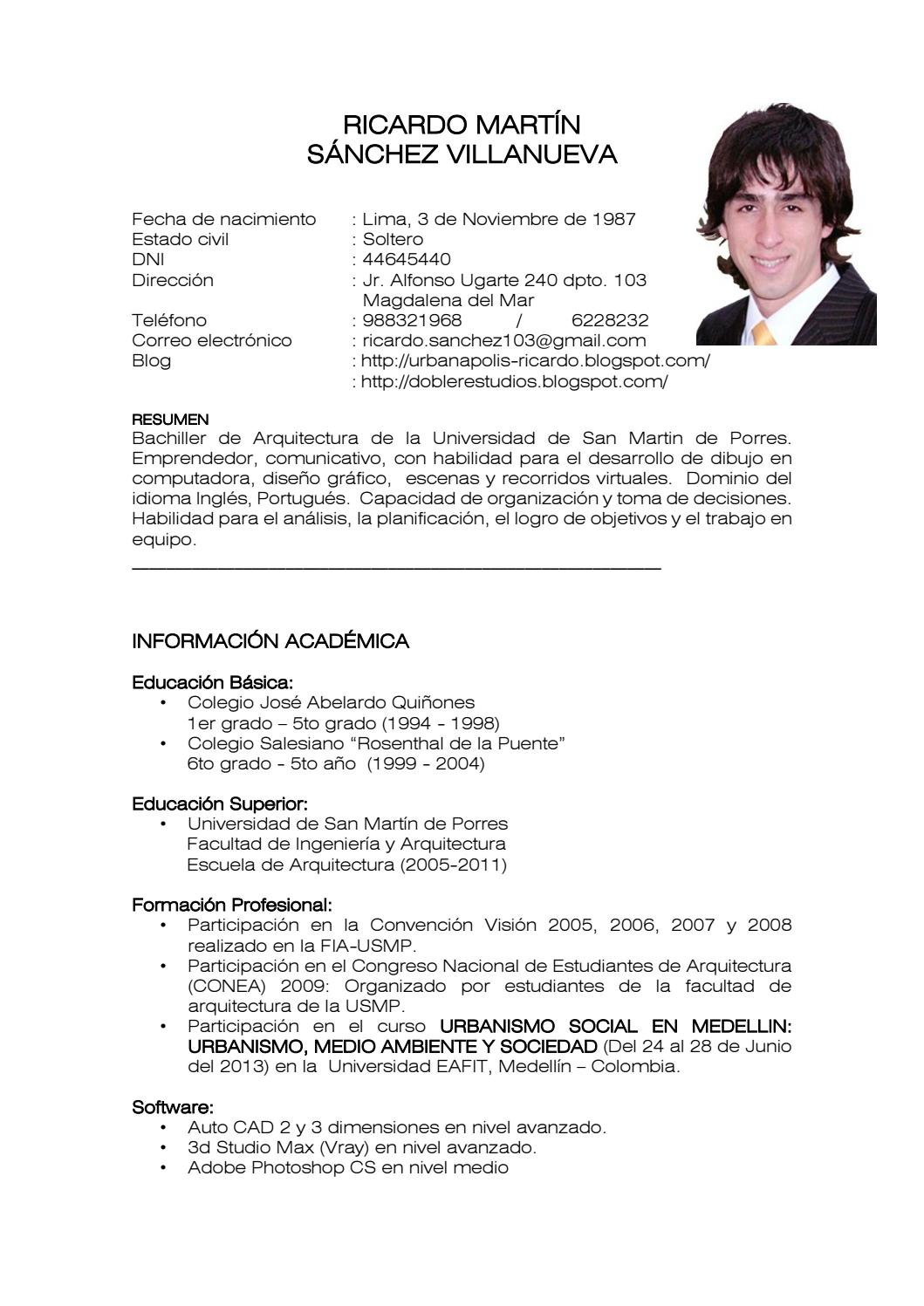 Curriculum Vitae By Ricardo Sanchez Issuu