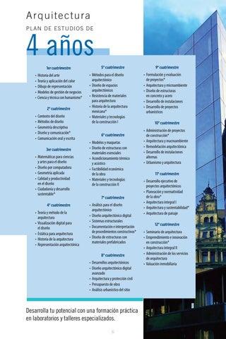 Licenciatura en arquitectura by universidad tecnol gica de for Plan estudios arquitectura
