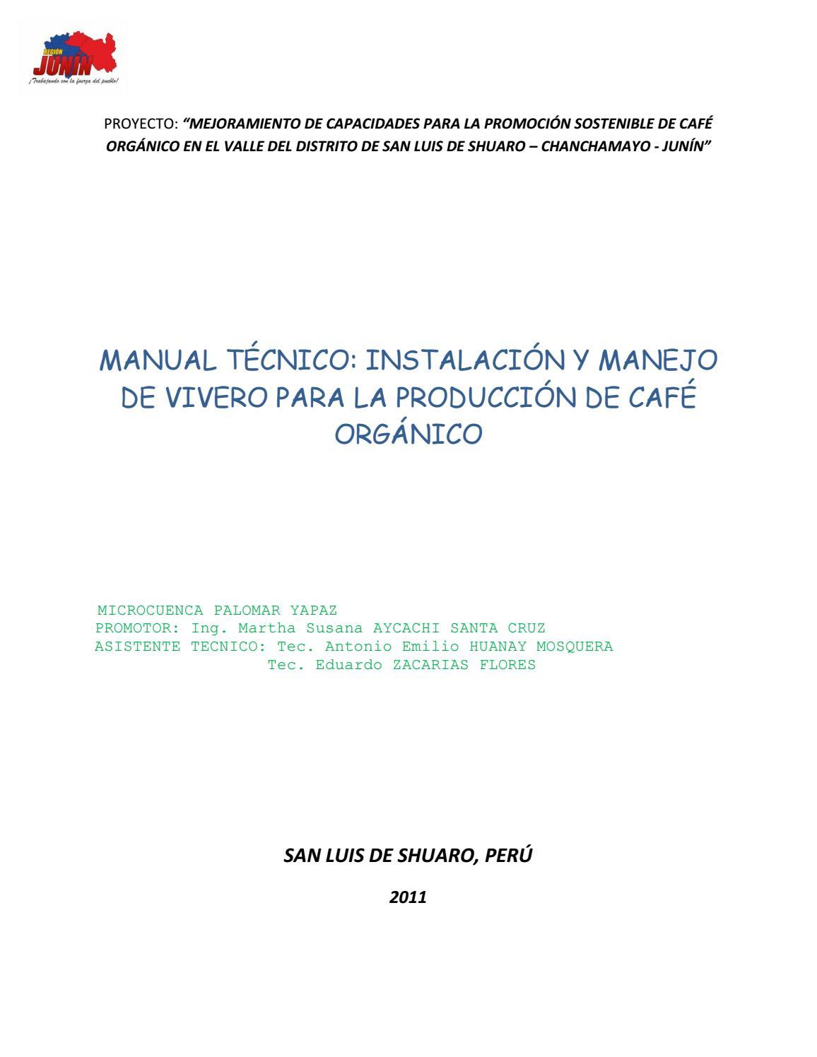 Manual tecnico instalacion y manejo de vivero para la for Vivero organico