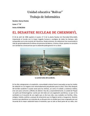 El desastre nuclear de chernobyl by danny Cholota - issuu