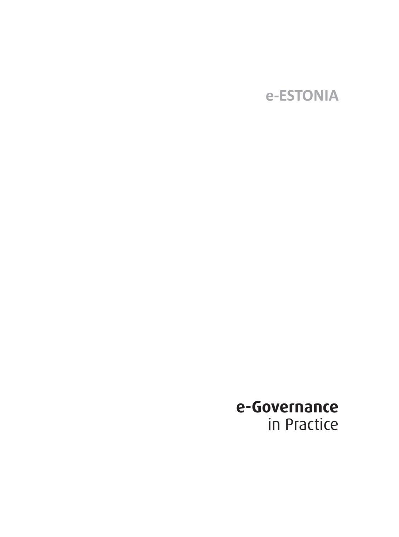 E Estonia E Governance In Practice By E Governance Academy