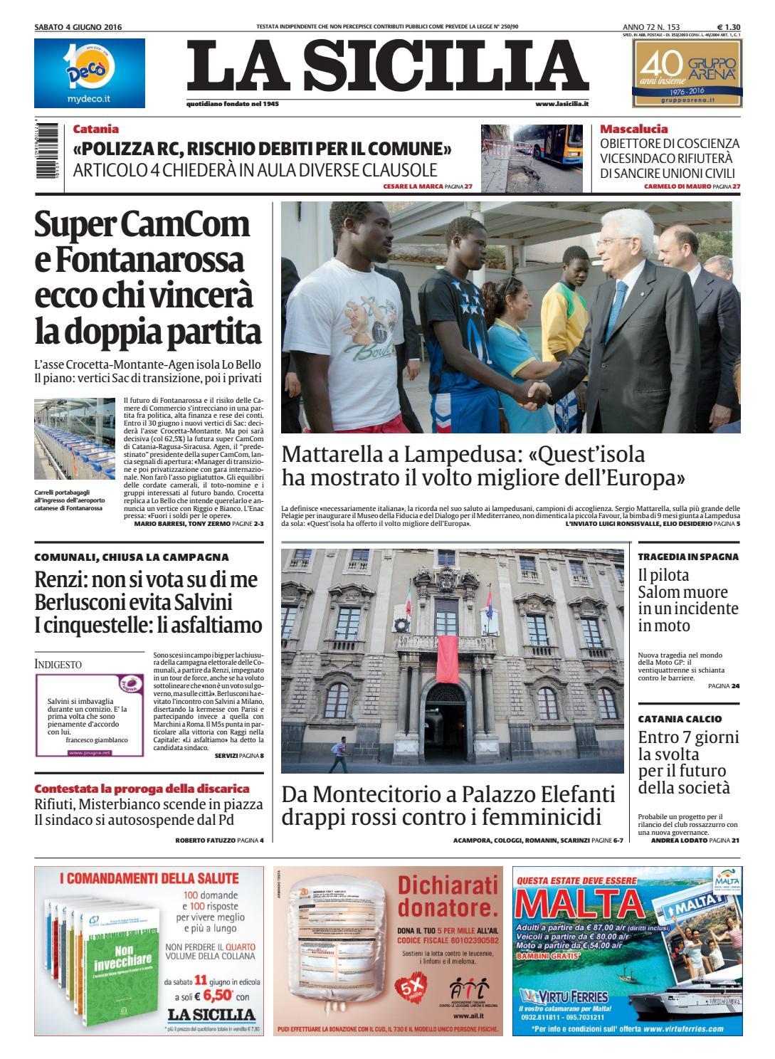 La sicilia 04 giugno 2016 by ulderico lepreri design for Affitti catania privati non arredati