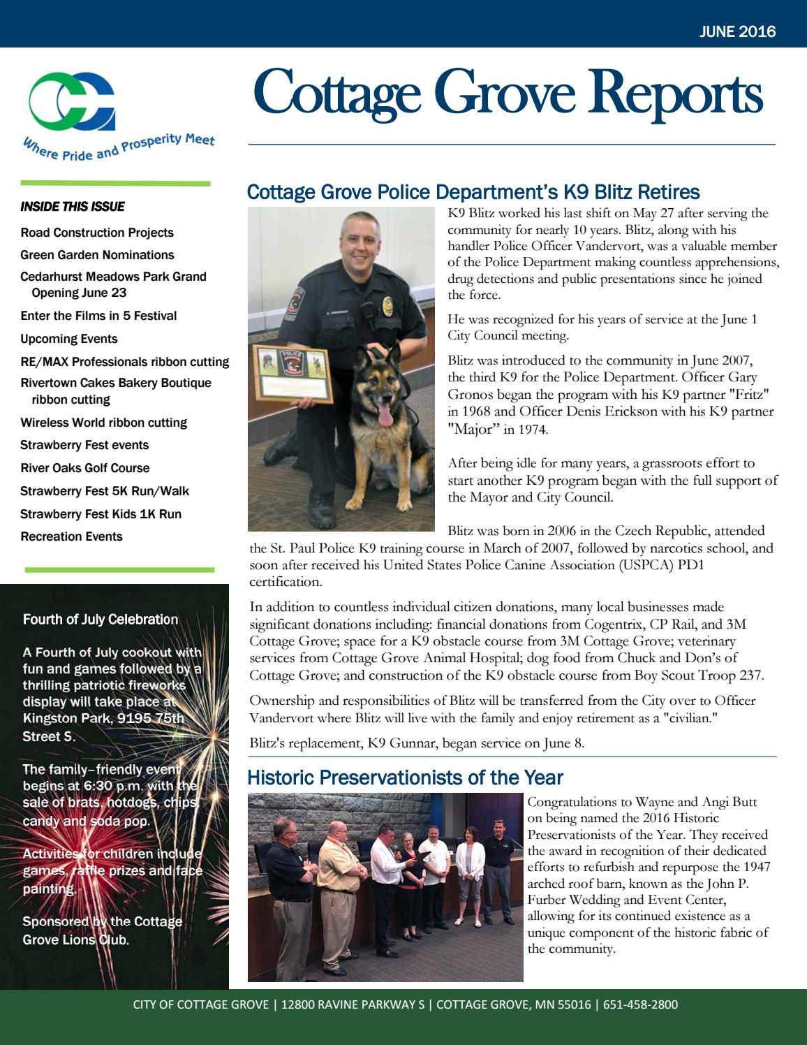 Cottage Grove Reports June 2016 By City Of Cottage Grove