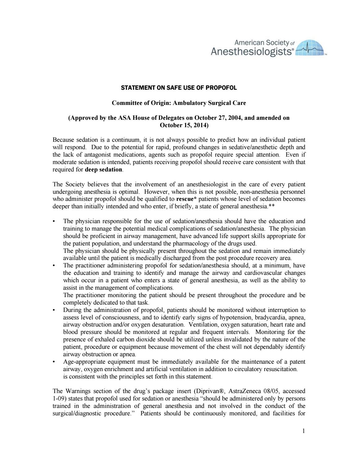 Statement on safe use of propofol by S C A R E  Colombia - issuu