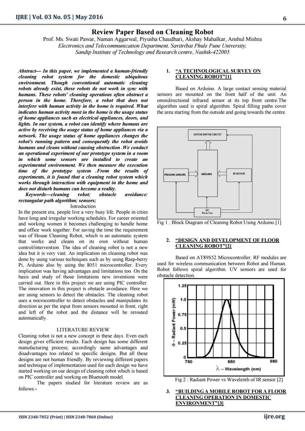 Ijre 1 Review Paper Based On Cleaning Robot 30511 By International Transformer Diagram Obstacle Avoidance Arduino Circuit Journal Of Research And Engineering Issuu
