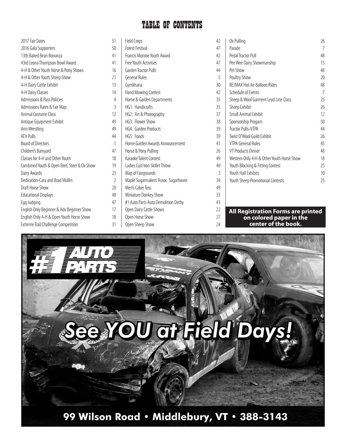 Addison County Fair and Field Days Exhibitor's Handbook by