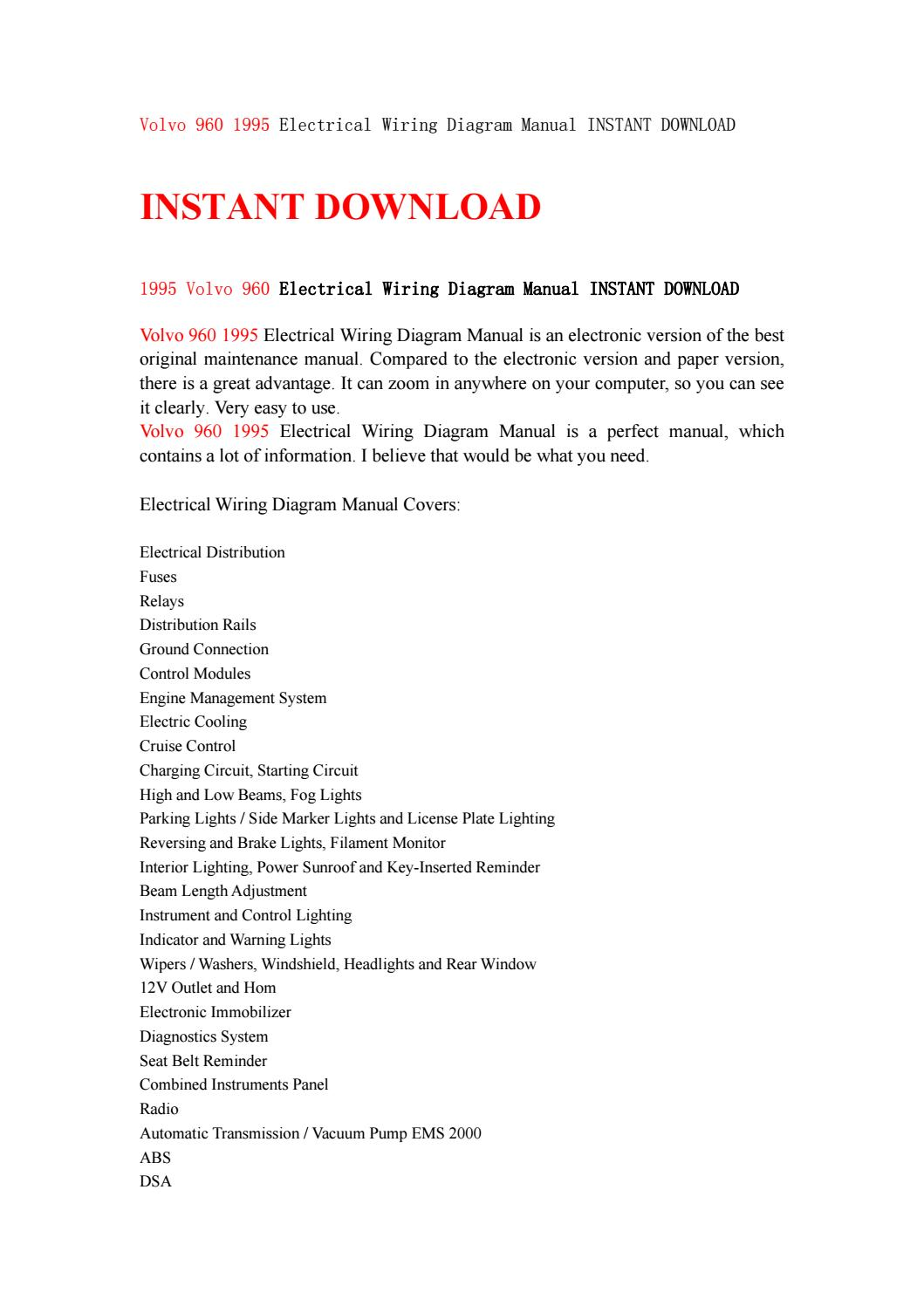 Volvo 960 1995 Electrical Wiring Diagram Manual Instant Download By Monitor Power Control Ksjefnsenfn Issuu