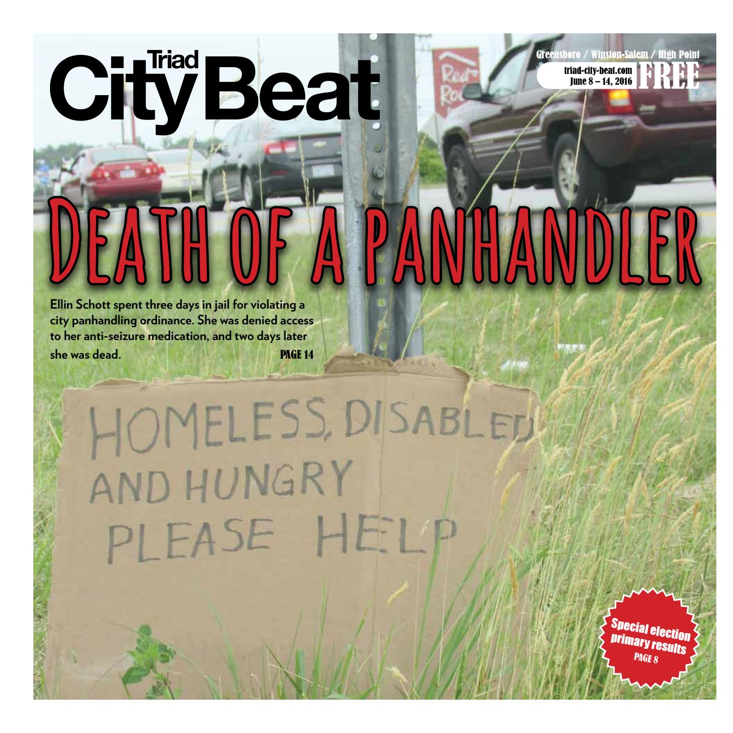 TCB June 8, 2016 — Death of a panhandler by Triad City Beat