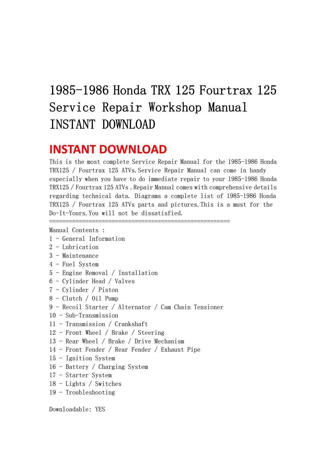 1985 1986 honda trx 125 fourtrax 125 service repair workshop manual instant  download by ksjefnsenfn - issuu