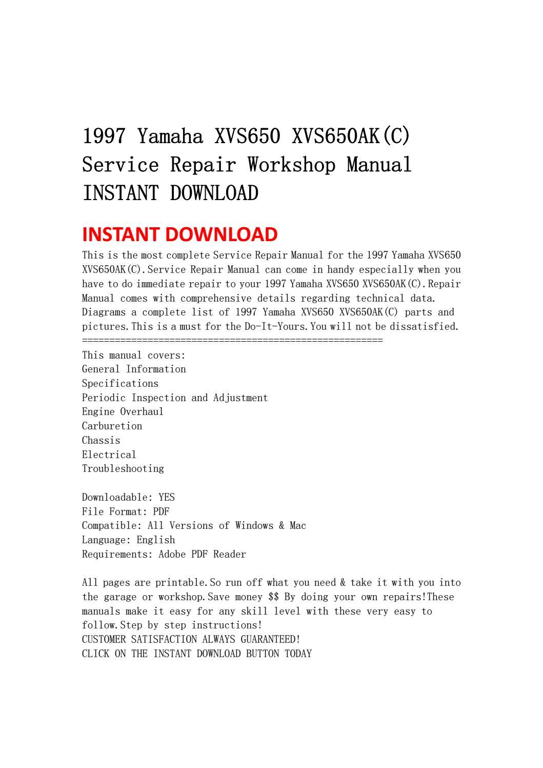 1997 yamaha xvs650 xvs650ak(c) service repair workshop manual instant  download by ksjefnsenfn - issuu